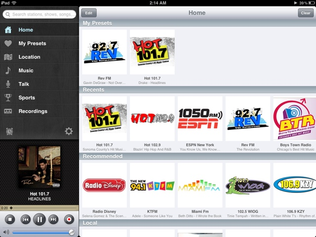 TuneIn Radio Pro on iPad!